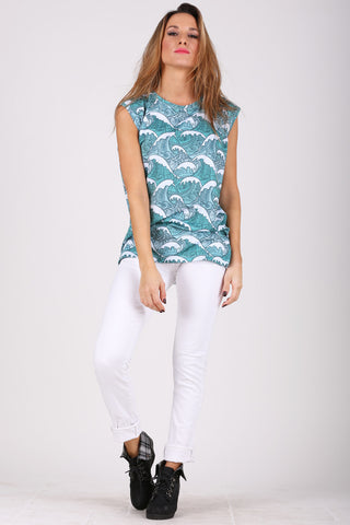 Blue Waves sleeveless shirt