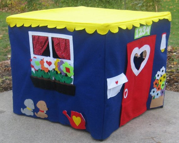 Bright and colorful kids card table playhouse