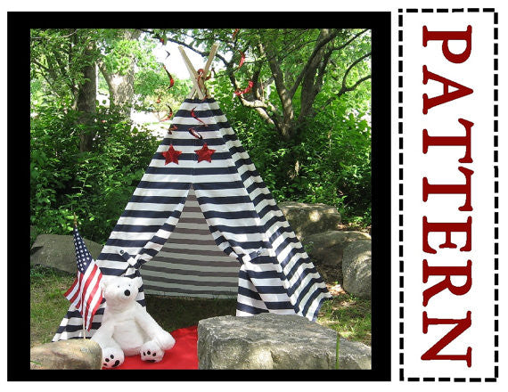 Kids Teepee Pattern for Striped Fabric or Directional Prints