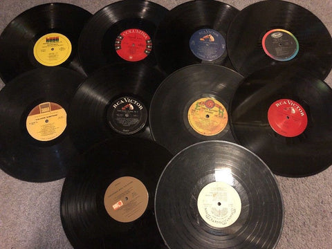 10 Vinyl Records For Arts & Crafts - No Sleeves Or Jackets - Some May Play OK