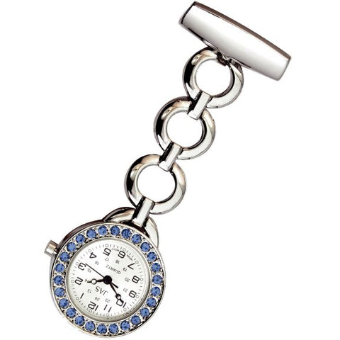 Metallic Pin-on Nurse Watch - Hooped Link with Stones - Silver with Blue Stones