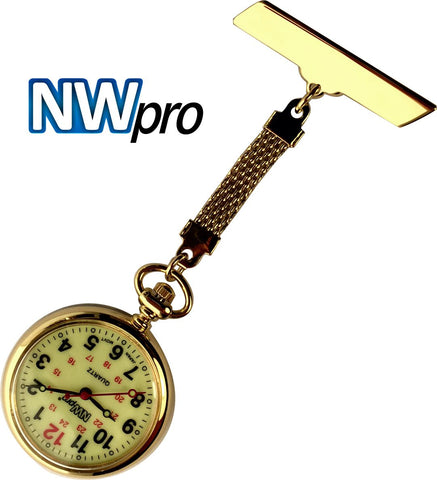 NW-Pro Lapel Nurse Watch - Large Glow-in-the-Dark Dial - Water Resistant - Braided - Gold Tone