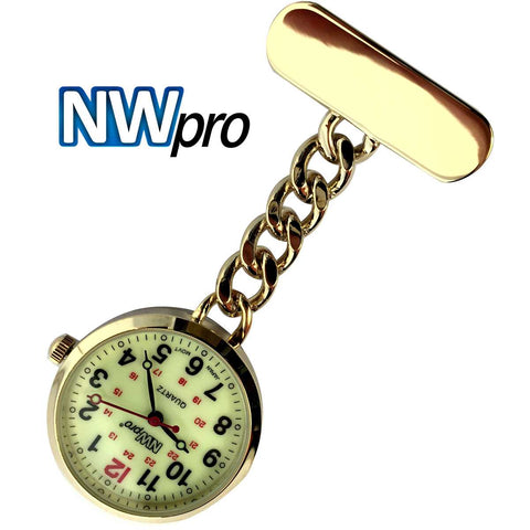 NW-Pro Lapel Nurse Watch - Large Glow-in-the-Dark  Dial - Water Resistant - Chained - Gold Tone