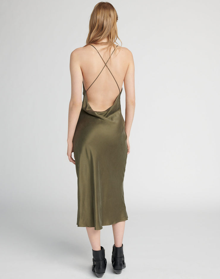 90s Long Slip Dress - Army Green