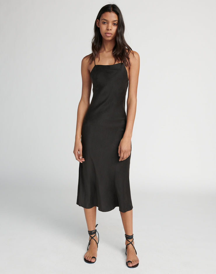 90s Long Slip Dress - Black
