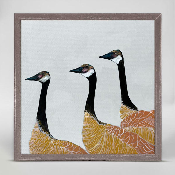 "Canadian Geese on White Mini Print 6"" x 6"""