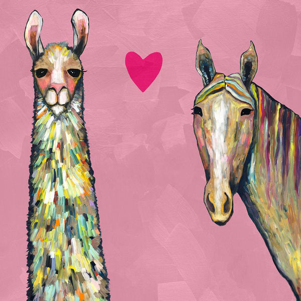 Llama Loves Horse in Pink - Giclée Print