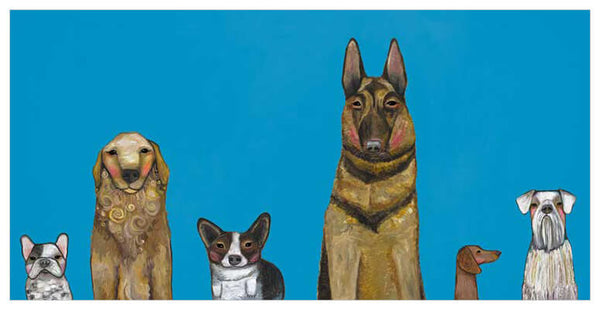 Dogs Dogs Dogs in Blue- Giclée Print