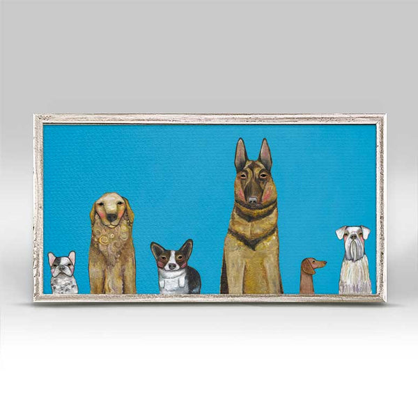 "Dogs Dogs Dogs Blue Mini Print 10"" x 5"""