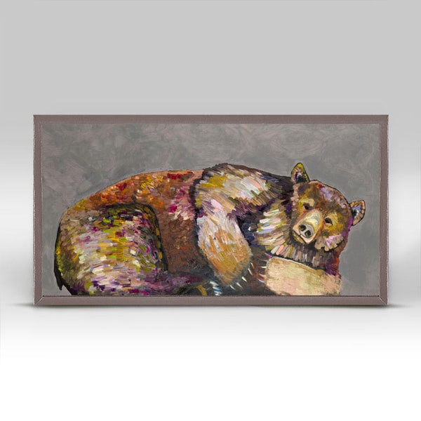 "Grizzly Bear Dreams on Grey Mini Print 10"" x 5"""