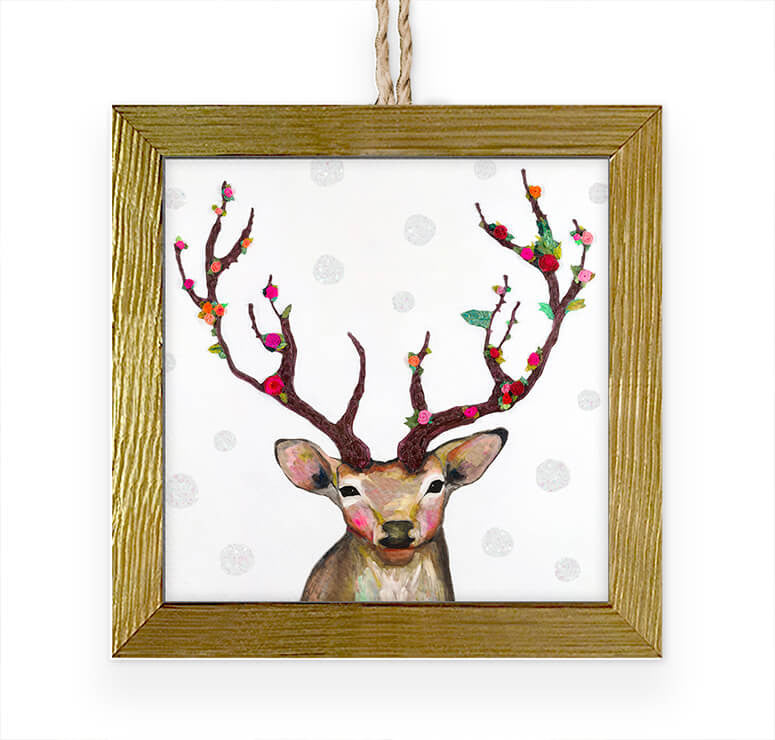 Rosy Buck Embellished Ornament