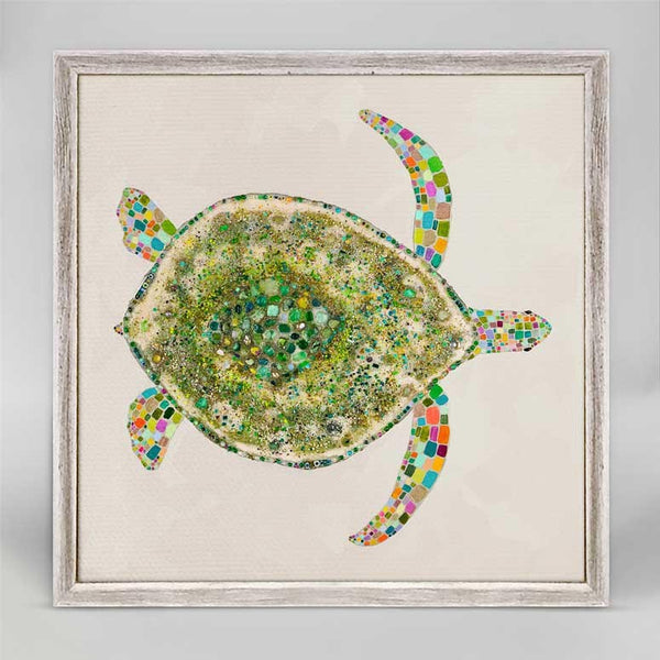 "Jeweled Sea Turtle in Pearl Mini Print 6"" x 6"""