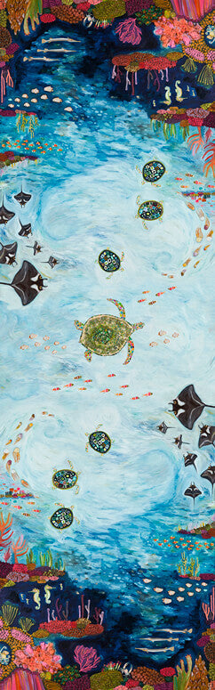 "Manta Ray Reef Floorcloth 30"" x 96"""