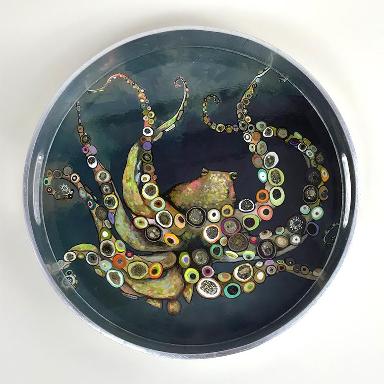 Octopus in the Deep Blue Sea Wooden Tray