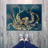 "Octopus in the Deep Blue Sea Floorcloth 30"" x 22.5"""
