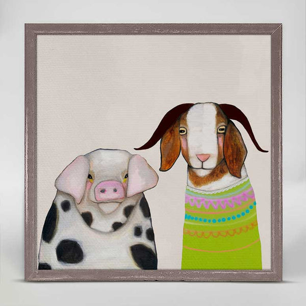 "Pig and Goat Pals Neutral Mini Print 6"" x 6"""