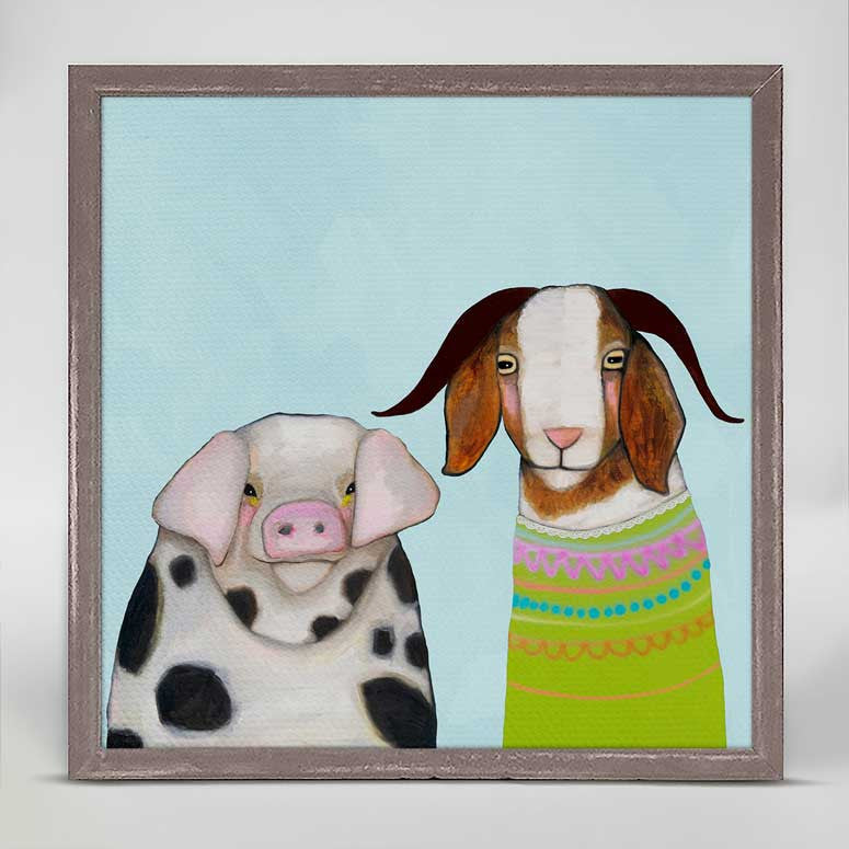 "Pig and Goat Pals Sky Blue Mini Print 6"" x 6"""