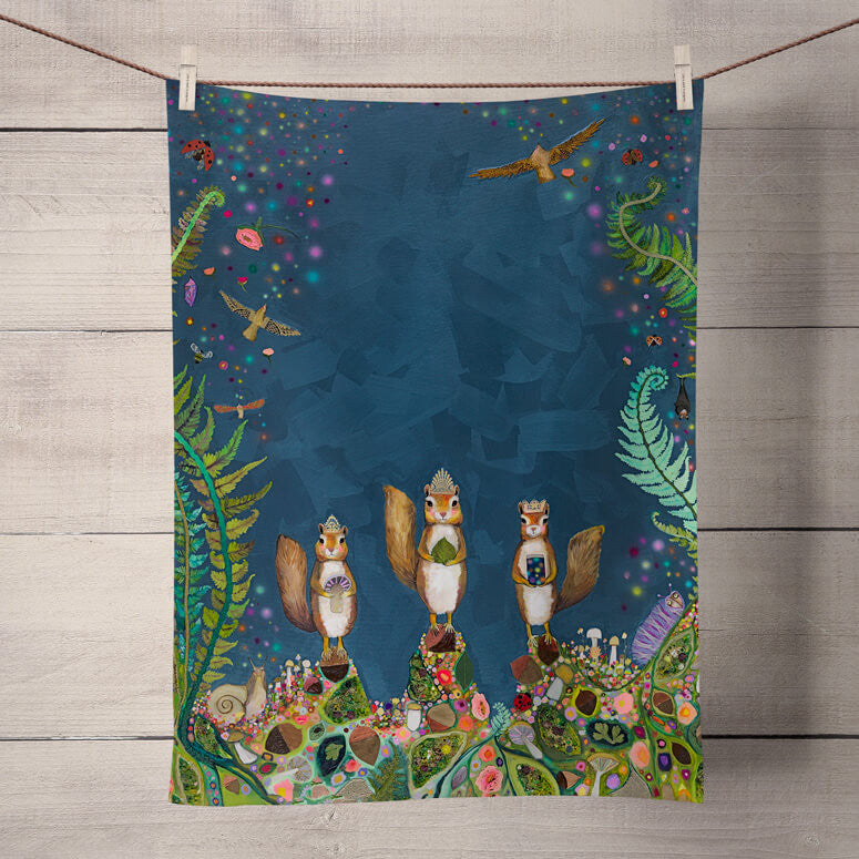 Squirrel Royale Tea Towel