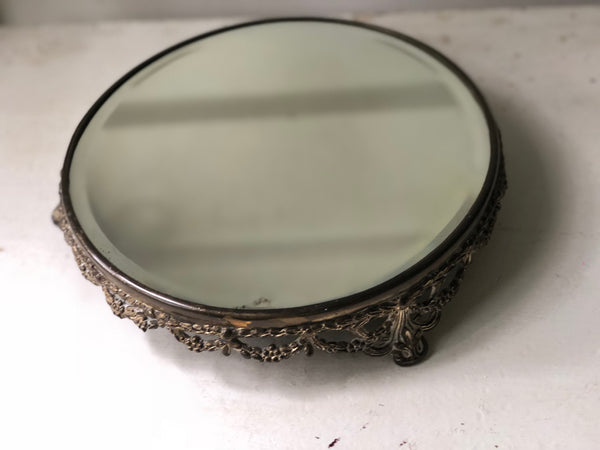 Antique Rounded Filigree Mirror Tray