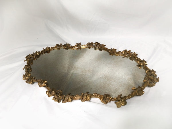 Antique Large Floral Victorian Mirror Tray