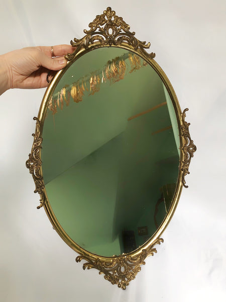 Antique French Victorian Hanging Mirror Tray
