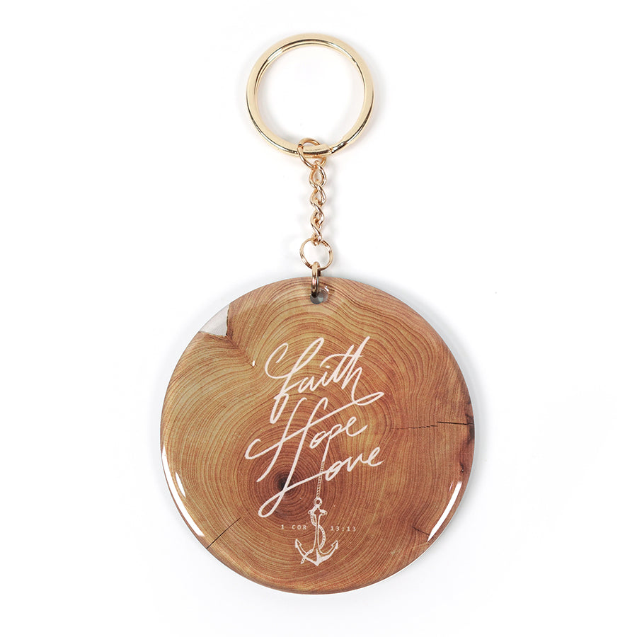 Keychain faith hope love with gold key ring