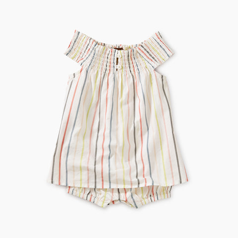 Stripe Smocked Romper Dress, Paperwhite