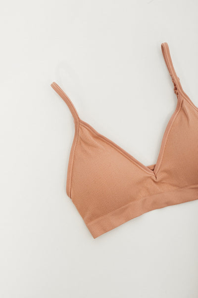 Ribbed Bralette / Dusty Coral