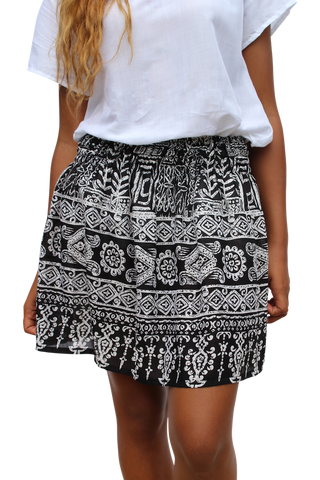 black aztec short mini skirt bohemian island