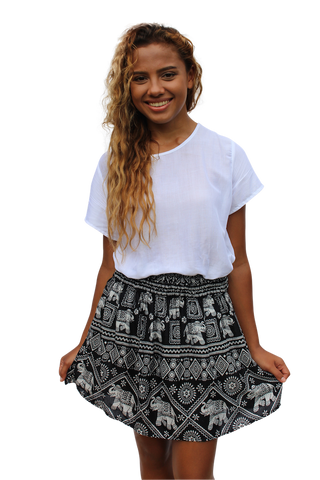 black elephant short mini skirt bohemian island