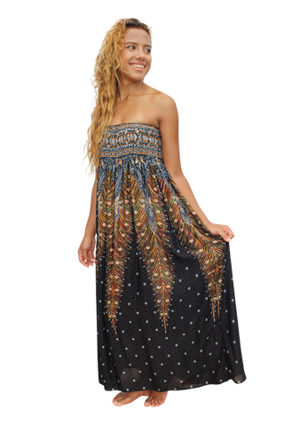black peacock womens maxi dress bohemian island