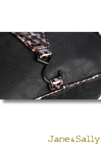 (Jane&Sally)Traveller Series Leather Joint Hanging Toiletry Bag(Black Leopard)
