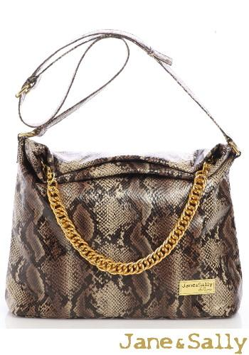 (Jane&Sally)Enchanted Python Bohemia Shoulder Bag(Classical Brown)