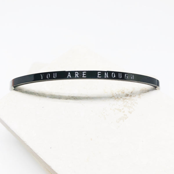 You are enough black stacking cuff