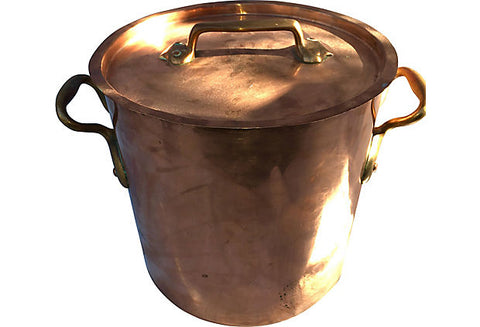 19th-Century French Copper Pot with Lid