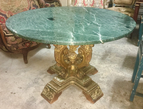 19th-C Carved and Gilt Wood Italian Round Table w/Green Marble Top