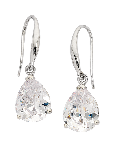 CZ Earrings - 9ct White Gold Cubic Zirconia Drop Earrings - 705783