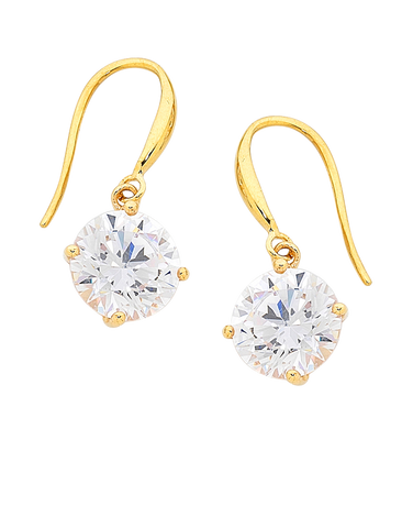 CZ Earrings - 9ct Yellow Gold Cubic Zirconia Drop Earrings - 706141