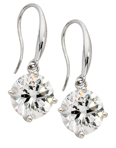 CZ Earrings - 9ct White Gold Cubic Zirconia Drop Earrings - 706142