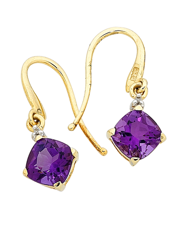 Amethyst Earrings - Yellow Gold Amethyst and Diamond Earrings - 707757