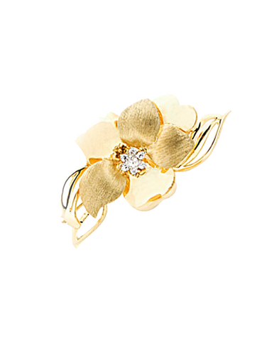 Gold Brooch - 9ct Yellow Gold Flower Brooch with CZ - 741245