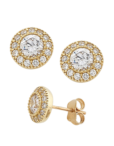 CZ Studs - 9ct Yellow Gold Cubic Zirconia Stud Earrings - 741690