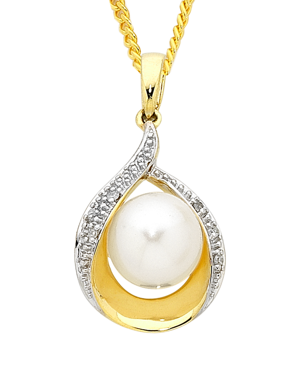 Pearl Pendant - Two Tone Diamond Set Pearl Pendant - 754088 - Salera's Melbourne, Victoria and Brisbane, Queensland Australia