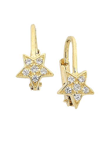 Gold Earrings - 9ct Yellow Gold CZ Star Earrings - 756193