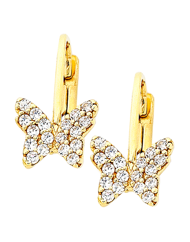 Gold Earrings - 9ct Yellow Gold CZ Butterfly Earrings - 756194