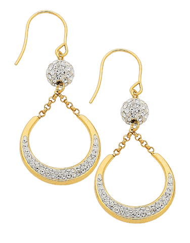 CZ Earrings - 9ct Yellow Gold Crystal Earrings - 756379
