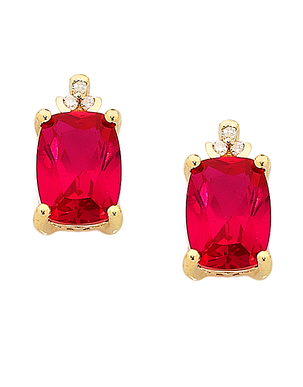 Ruby Earrings - Yellow Gold Ruby and Diamond Earrings - 757012 - Salera's Melbourne, Victoria and Brisbane, Queensland Australia