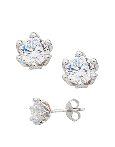 CZ Studs - 9ct White Gold Cubic Zirconia Stud Earrings - 757634