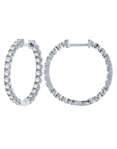 Diamond Earrings - 10ct White Gold Diamond Set Hoop - 769010