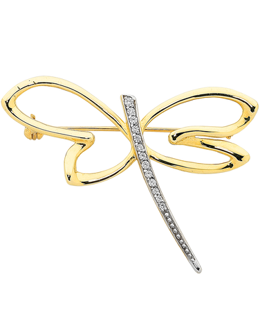 Gold Brooch - 9ct Yellow Gold CZ Dragonfly Brooch - 760152